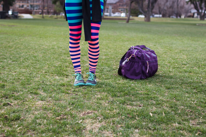 Bold stripe workout leggings